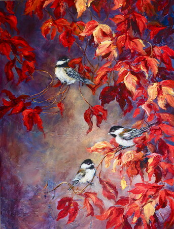 Chickadees And Virginia Creeper