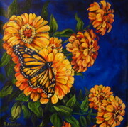 Monarch And Zinnias